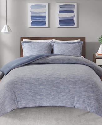 Jla Home Urban Habitat Space Dyed Full/Queen 3 Piece Melange Cotton Jersey Knit Comforter Set Bedding