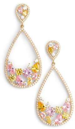 Nina Stone Cluster Open Teardrop Earrings