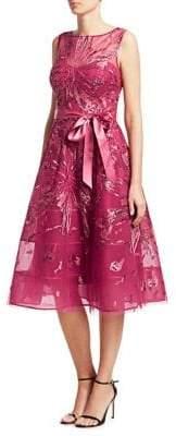 Teri Jon Sleeveless Sequined Illusion A-Line Dress
