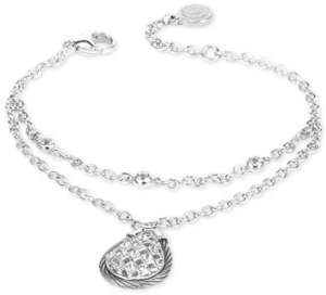 Charriol White Topaz Double Row Bracelet (5/8 ct. t.w.) in Sterling Silver and Stainless Steel