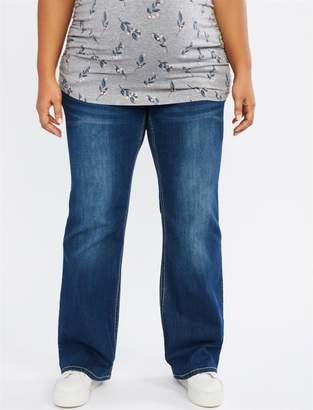 Motherhood Maternity Indigo Blue Plus Size Secret Fit Belly Stitched Pocket Boot Cut Maternity Jeans