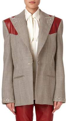 Magda Butrym Arkansas Beaded Plaid Wool Blazer w/ Leather Shoulders
