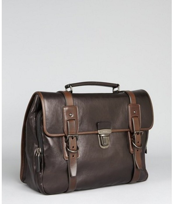 Prada brown calfskin messenger bag