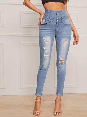 Shein Ripped Button Front Skinny Jeans