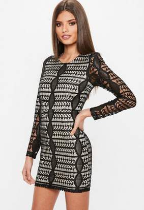 Missguided Black Lace Round Neck Long Sleeve Bodycon Dress