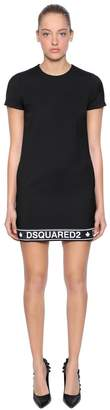 DSQUARED2 Logo Band Wool Blend Cady Dress