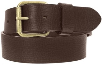 Montauk Leather Club 1-1/2 in. US Steer Hide Leather Pebble Grain Men's Belt with Antique Brass Finish Roller Buckle