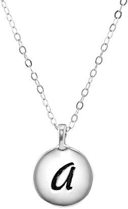 FINE JEWELRY Personalized Sterling Silver Round Initial Disc Engraved Pendant Necklace