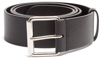 Balenciaga Logo Print Leather Belt - Mens - Black White