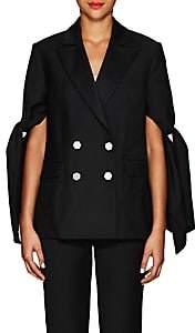 Osman Women's Aria Tie-Sleeve Wool Tuxedo Jacket - Black