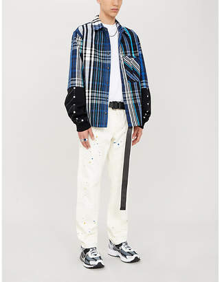 Off-White Jersey-sleeve layered checked cotton-blend shirt