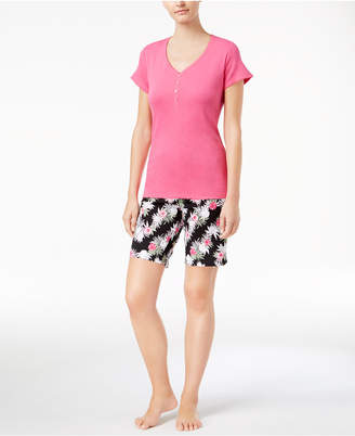 Charter Club V-Neck Top & Bermuda Shorts Cotton Knit Pajama Set, Created for Macy's $19.98 thestylecure.com