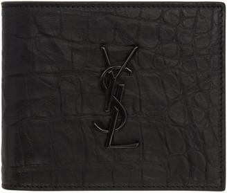 Saint Laurent Black Croc-Embossed Monogram East/West Wallet $425 thestylecure.com