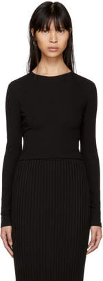 Rosetta Getty Black Long Sleeve Cropped T-Shirt