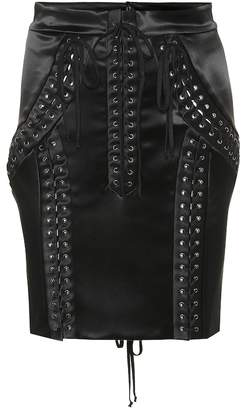 Dolce & Gabbana Stretch satin lace-up miniskirt