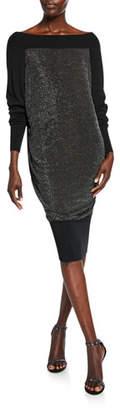 Chiara Boni Long-Sleeve Metallic Blouson Dress