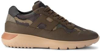 Hogan Interactive Green Leather And Camouflage Fabric Sneaker