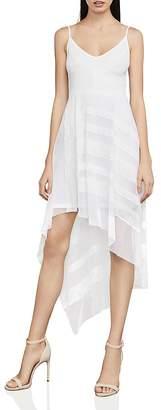 BCBGMAXAZRIA Dae Asymmetric Mesh & Lace Dress