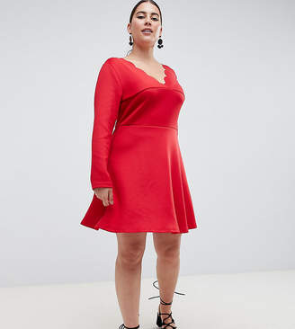 AX Paris Plus scalloped edge swing dress