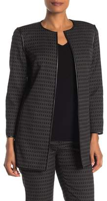 Lafayette 148 New York Pria Faux Leather Trim Open Front Jacket