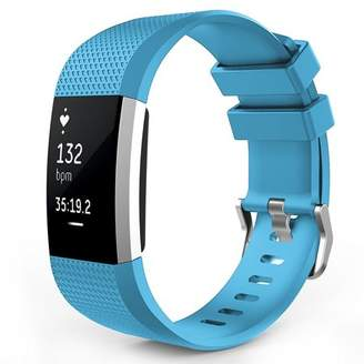 Fitbit Charge 2 Watch Bands, Mignova Soft Silicone Replacement Sport Watch Wrist Band Strap for Charge 2 Fitness Tracker - Large Size (Sky Blue)