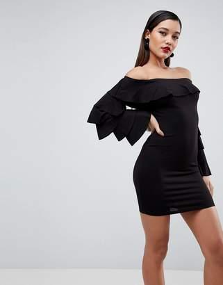 Bardot ASOS DESIGN ASOS Extreme Ruffle Sleeve Bodycon Mini Dress