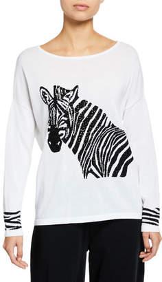 Joan Vass Boat-Neck Sequined Zebra Intarsia Sweater w/ Cuff Detail
