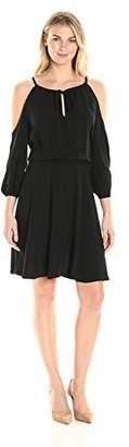 James & Erin Women's Cold Shoulder Smocked Waist Dress