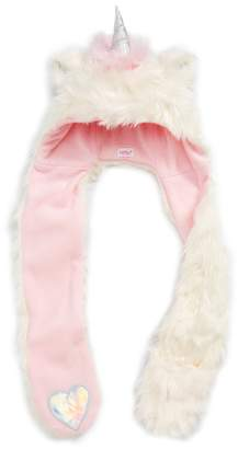 Capelli New York Unicorn Critter Faux Fur Hooded Scarf