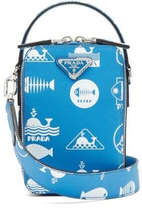 Whale Logo Print Saffiano Leather Cross Body Bag - Mens - Light Blue