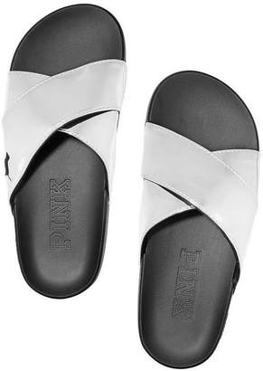 9b9791f2cdf Victoria s Secret Metallic Criss Cross Comfort Slides Sandals with Dog Logo  Size (7-8