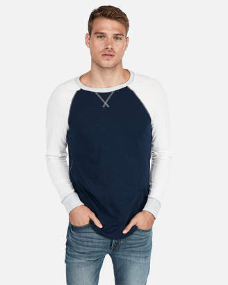 Express Color Block Slub Baseball Tee