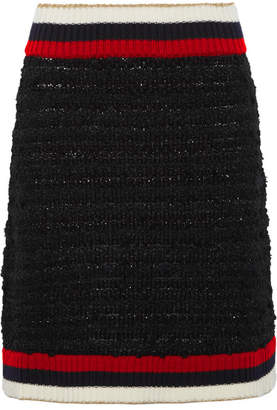 Gucci Ribbed Knit-trimmed Bouclé-tweed Mini Skirt - Black