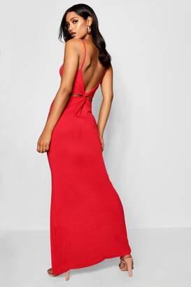 boohoo Knot Cross Back Jersey Maxi Dress