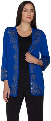 Bob Mackie Bob Mackie's 3/4 Sleeve Open Front Cardigan with Sequin Detail