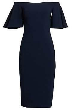 Theia Women's Off-The-Shoulder Crepe Midi Dress