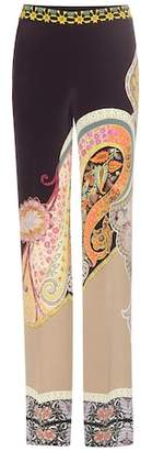 Etro Printed silk trousers