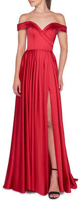 Mac Duggal Ieena for Off-Shoulder Short-Sleeve Pleated A-Line Gown with Thigh Slit