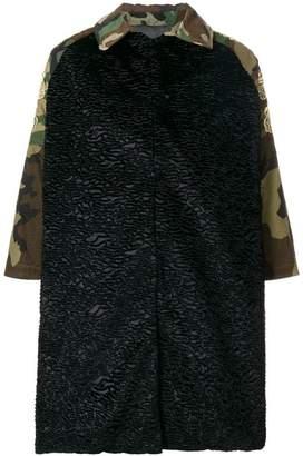 Caban Romantic cropped sleeve camouflage coat