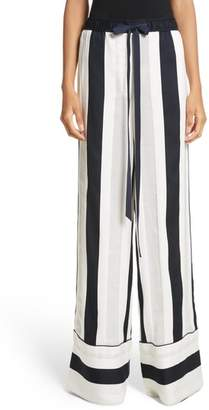 ADAM by Adam Lippes Cotton & Silk Stripe Jacquard Wide Leg Pants