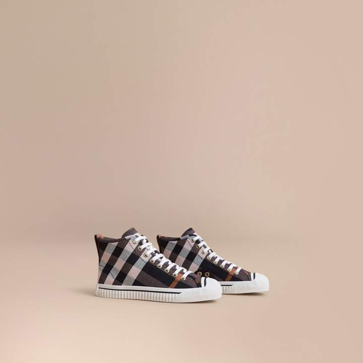 Burberry Check Linen Cotton High-top Trainers