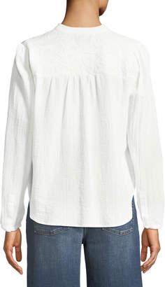 Anna Cai Lace-Shoulder Button-Front Peasant Blouse
