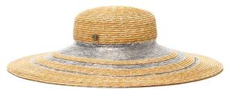 Maison Michel Bianca Metallic Stripe Straw Hat - Womens - Silver