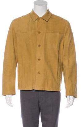 John Varvatos Leather Button-Up Jacket