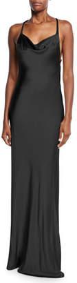 Galvan Sleeveless Shimmer-Satin Asymmetric-Back Gown