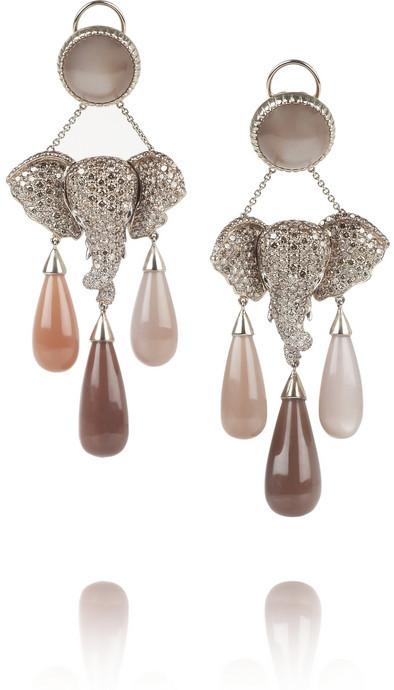 Lydia Courteille Mhadaratha 18-karat gold, diamond and moonstone earrings