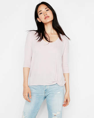 Express One Eleven Soft Knit Twist Front London Tee
