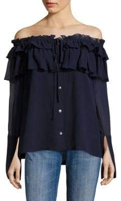 Opening Ceremony Crinkle Chiffon Silk Off-The-Shoulder Blouse