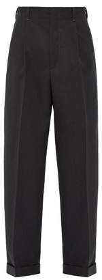 Gucci Wide Leg Wool Twill Trousers - Mens - Grey