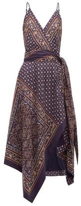 Jonathan Simkhai Geometric Print Satin Twill Wrap Dress - Womens - Navy Multi
